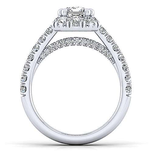 Sutton Platinum Emerald Cut Halo Engagement Ring angle 2
