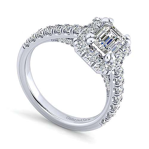 Sutton Platinum Emerald Cut Halo Engagement Ring angle 3