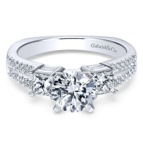 Gabriel - Svetlana 14k White Gold Round 3 Stones Engagement Ring