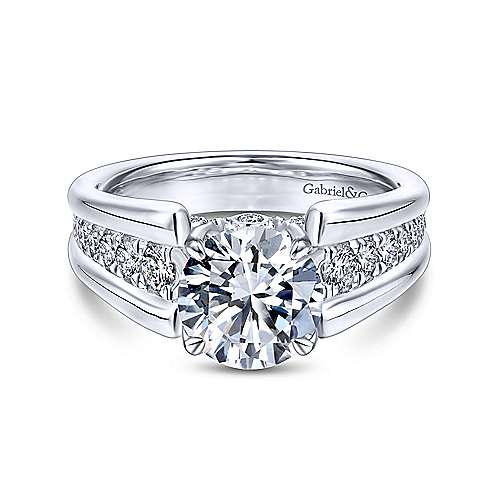 Gabriel - Swan 18k White Gold Round Straight Engagement Ring