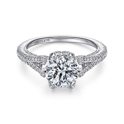 Gabriel - Sweet Pea 18k White Gold Round Split Shank Engagement Ring