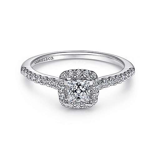 Gabriel - Swift 14k White Gold Princess Cut Halo Engagement Ring