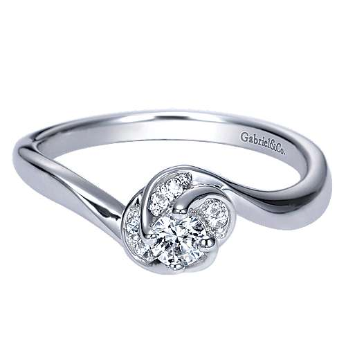 Gabriel - Swoon 14k White Gold Round Bypass Engagement Ring