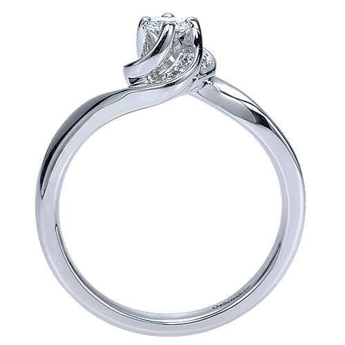 Swoon 14k White Gold Round Bypass Engagement Ring