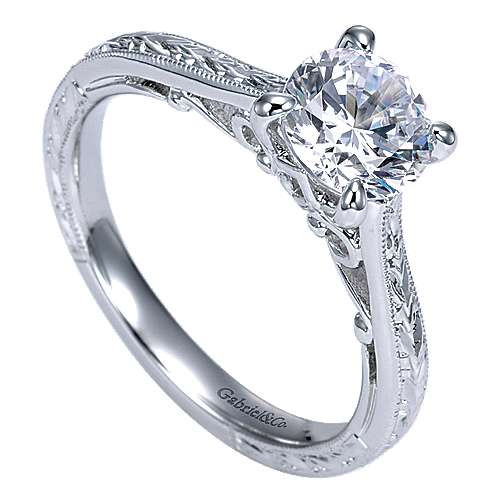Sybil 14k White Gold Round Straight Engagement Ring angle 3