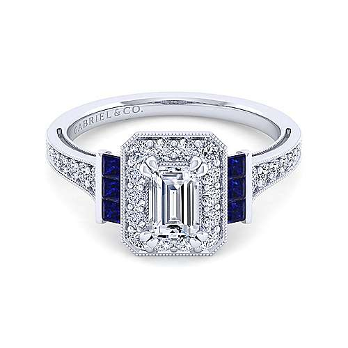 Gabriel - Sylvia 14k White Gold Emerald Cut Halo Engagement Ring