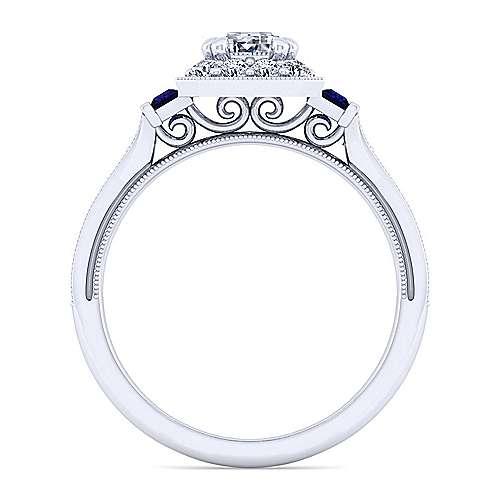 Sylvia 14k White Gold Emerald Cut Halo Engagement Ring angle 2