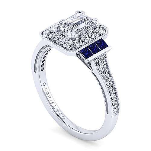 Sylvia 14k White Gold Emerald Cut Halo Engagement Ring angle 3