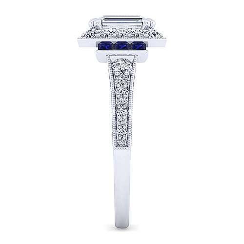 Sylvia 14k White Gold Emerald Cut Halo Engagement Ring angle 5