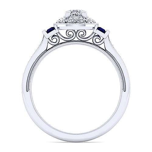 Sylvia 14k White Gold Oval Halo Engagement Ring angle 2