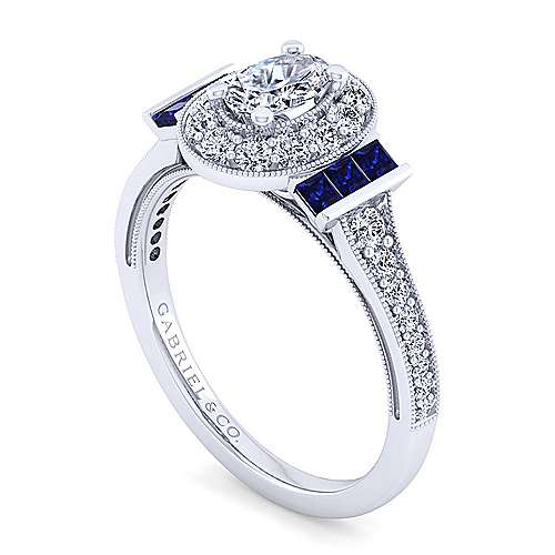 Sylvia 14k White Gold Oval Halo Engagement Ring angle 3