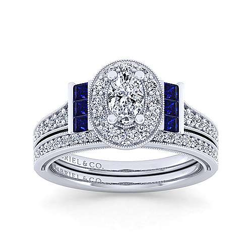 Sylvia 14k White Gold Oval Halo Engagement Ring angle 4