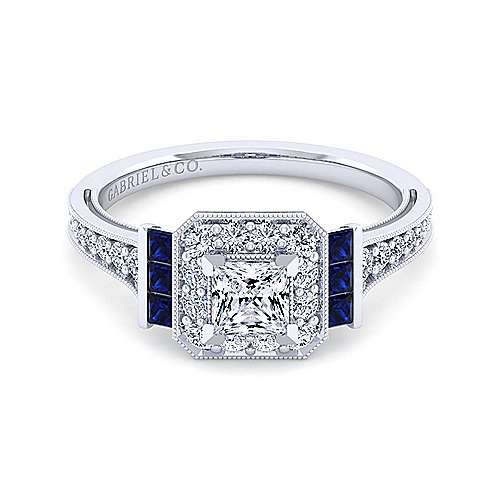 Gabriel - Sylvia 14k White Gold Princess Cut Halo Engagement Ring