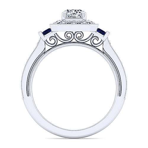 Sylvia 14k White Gold Round Halo Engagement Ring angle 2
