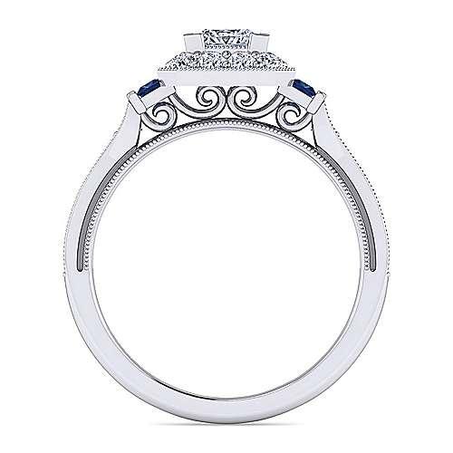 Sylvia Platinum Princess Cut Halo Engagement Ring angle 2