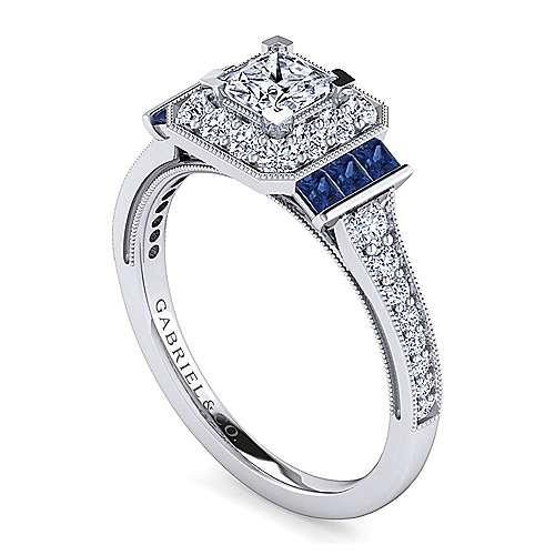 Sylvia Platinum Princess Cut Halo Engagement Ring angle 3