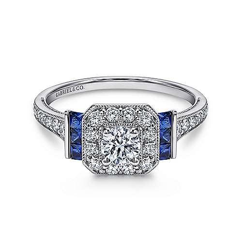 Gabriel - Sylvia Platinum Round Halo Engagement Ring