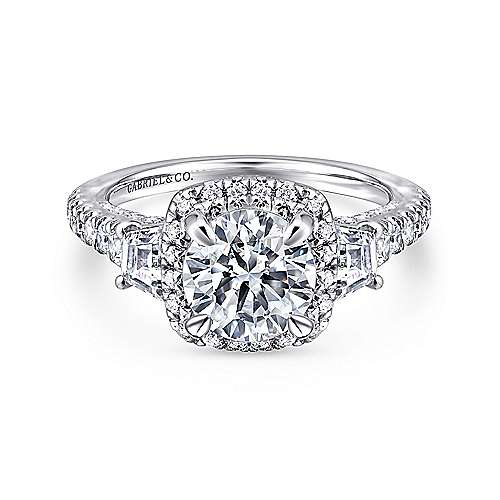 Gabriel - Tabassum 18k White Gold Round Halo Engagement Ring