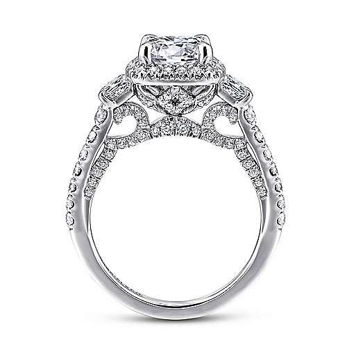 Tabassum 18k White Gold Round Halo Engagement Ring angle 2