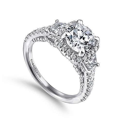 Tabassum 18k White Gold Round Halo Engagement Ring angle 3