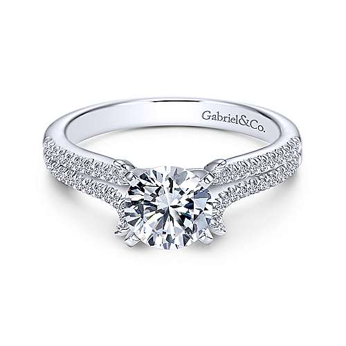 Talisa 14k White Gold Round Split Shank Engagement Ring angle 1