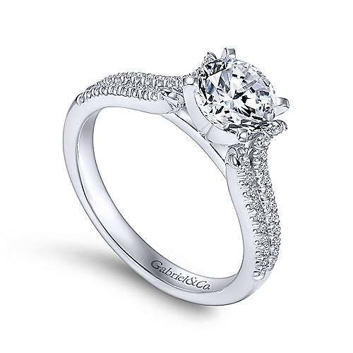Talisa 14k White Gold Round Split Shank Engagement Ring angle 3