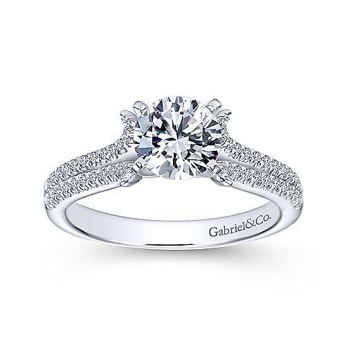 Talisa 14k White Gold Round Split Shank Engagement Ring angle 5