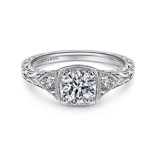 Gabriel - Tallulah Platinum Round 3 Stones Engagement Ring