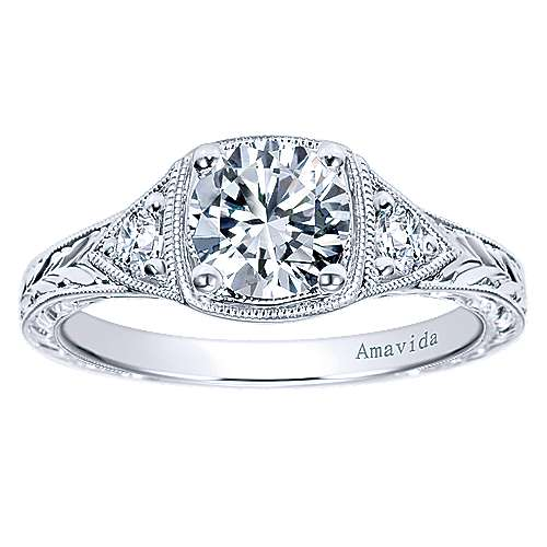 Tallulah Platinum Round 3 Stones Engagement Ring
