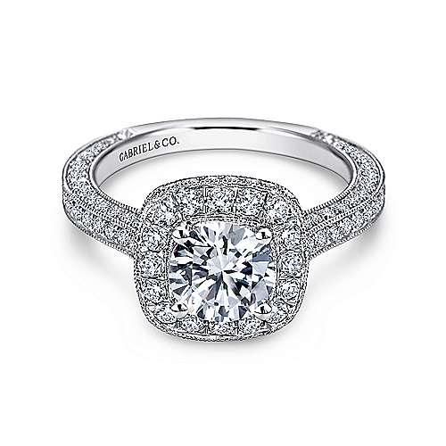 Gabriel - Tally 14k White Gold Round Halo Engagement Ring