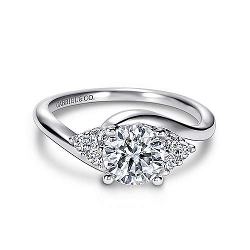 Gabriel - Tamara 14k White Gold Round Bypass Engagement Ring