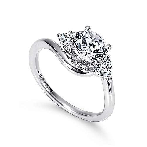 Tamara 14k White Gold Round Bypass Engagement Ring angle 3