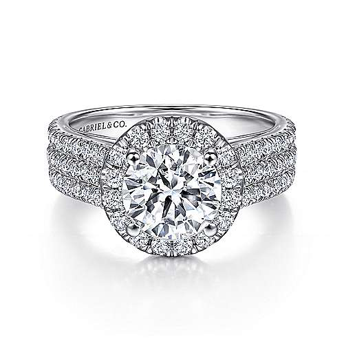 Gabriel - Tammy 18k White Gold Round Halo Engagement Ring