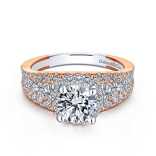 Gabriel - Tamryn 18k White And Rose Gold Round Halo Engagement Ring