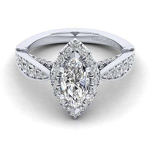 Gabriel - Tansy 14k White Gold Marquise  Halo Engagement Ring