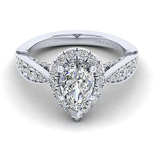 Gabriel - Tansy 14k White Gold Pear Shape Halo Engagement Ring