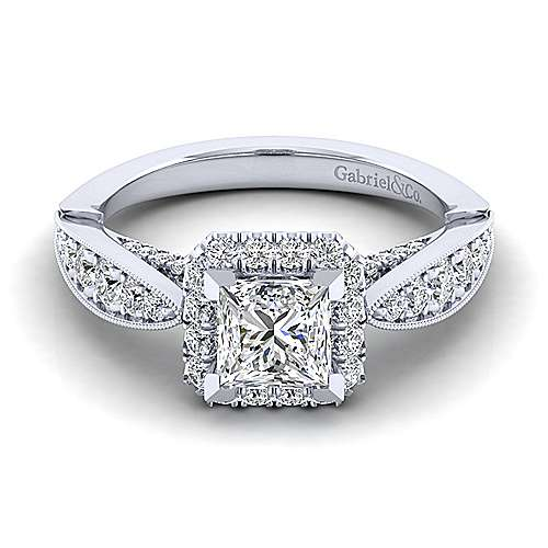 Gabriel - Tansy 14k White Gold Princess Cut Halo Engagement Ring
