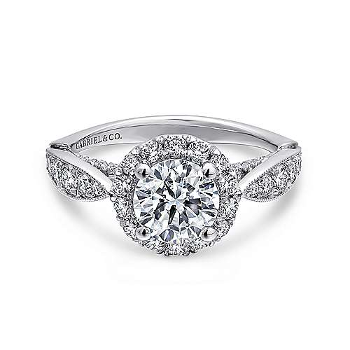 Gabriel - Tansy 14k White Gold Round Halo Engagement Ring