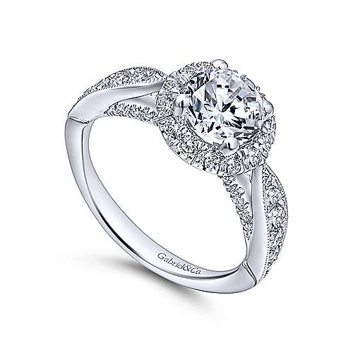 Tansy 14k White Gold Round Halo Engagement Ring angle 3