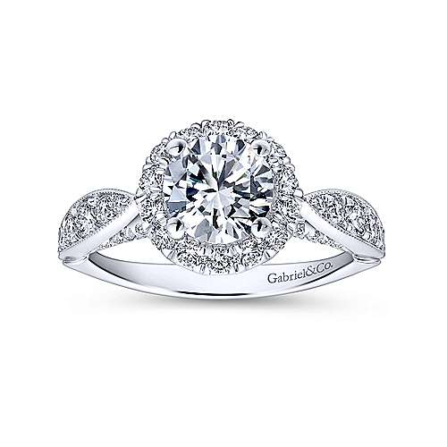 Tansy 14k White Gold Round Halo Engagement Ring angle 5