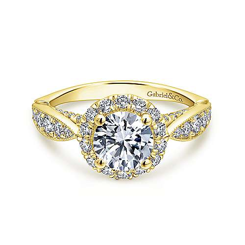 Gabriel - Tansy 14k Yellow Gold Round Halo Engagement Ring