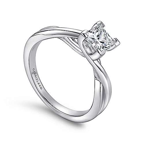Tanya 14k White Gold Princess Cut Solitaire Engagement Ring angle 3