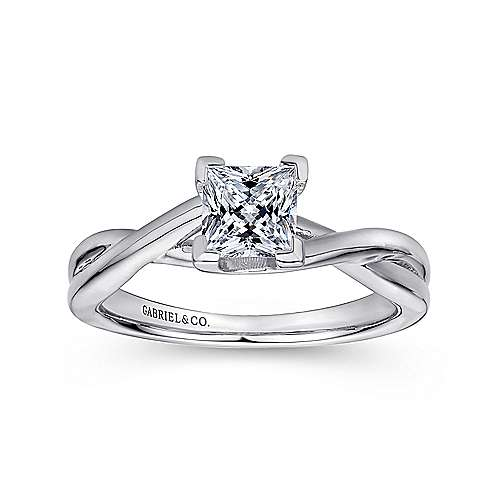Tanya 14k White Gold Princess Cut Solitaire Engagement Ring angle 5