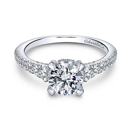 Tara 14k White Gold Round Straight Engagement Ring