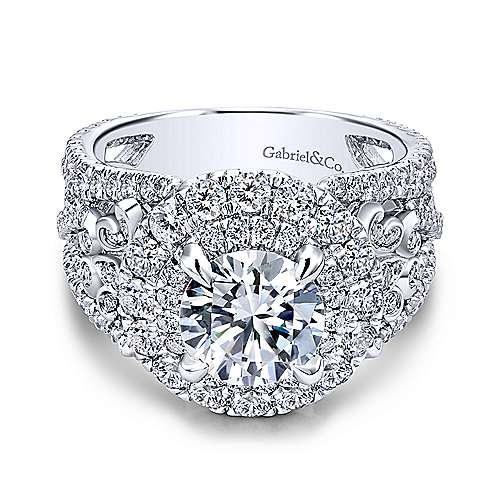 Gabriel - Tarantana 18k White Gold Round Double Halo Engagement Ring