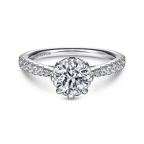 Gabriel - Tasha 14k White Gold Round Straight Engagement Ring