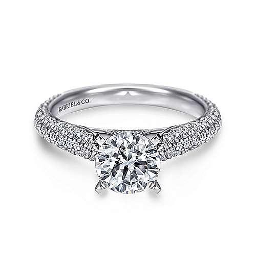 Gabriel - Tatiana 14k White Gold Round Straight Engagement Ring