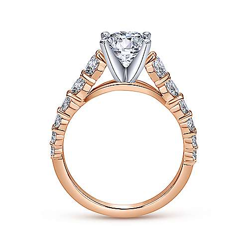 Taylor 14k White And Rose Gold Round Straight Engagement Ring angle 2