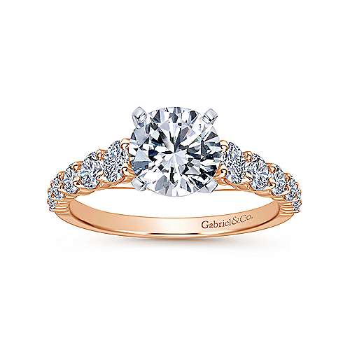 Taylor 14k White And Rose Gold Round Straight Engagement Ring angle 5