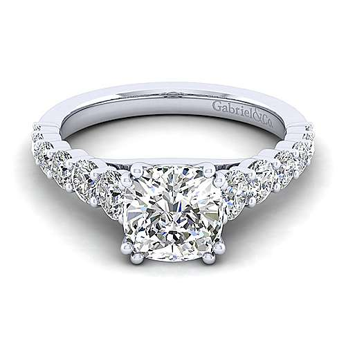 Gabriel - Taylor 14k White Gold Cushion Cut Straight Engagement Ring